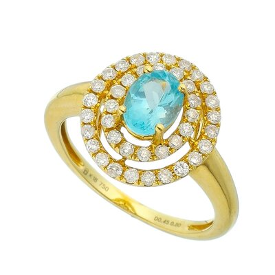 Anel Ouro Amarelo com Apatita e Diamantes