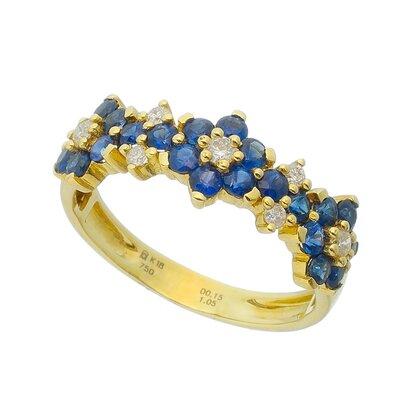 Anel Ouro Amarelo com Safira Azul