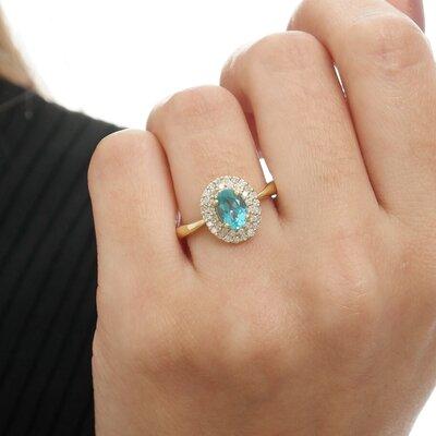Anel Ouro Amarelo Diamantes e Apatita Oval