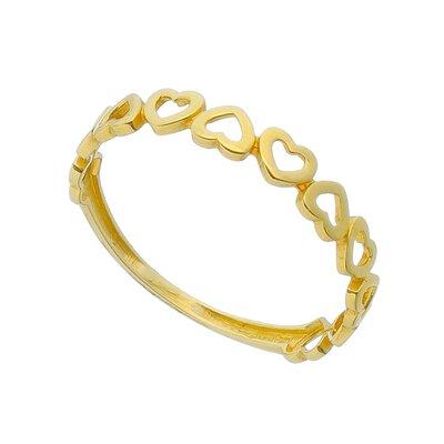 Anel Ouro Amarelo Coração