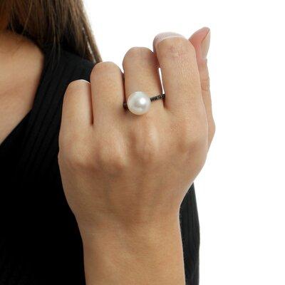 Anel Ouro Branco Diamantes Negros e Perola