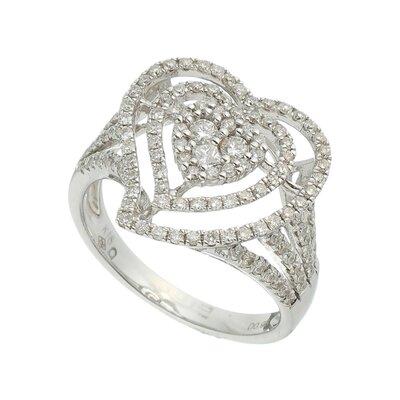 Anel Ouro Branco Coração Diamantes