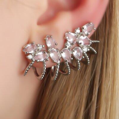 Ear Cuff com Zirconias Rosa
