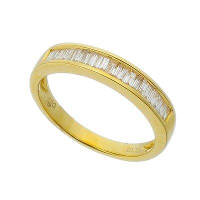Meia Aliança Ouro Amarelo Diamantes em Baguetes