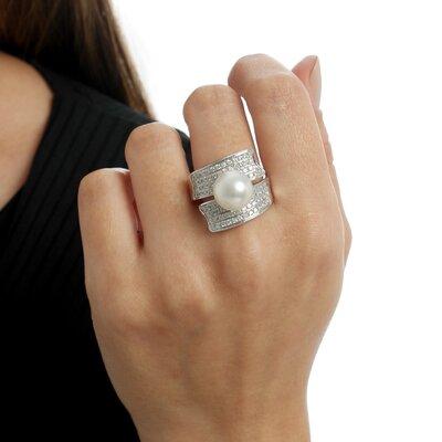 Anel Ouro Branco Diamantes e Perola