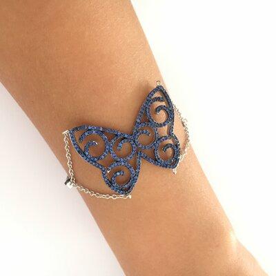 Pulseira de Prata 925 com Borboleta Azul