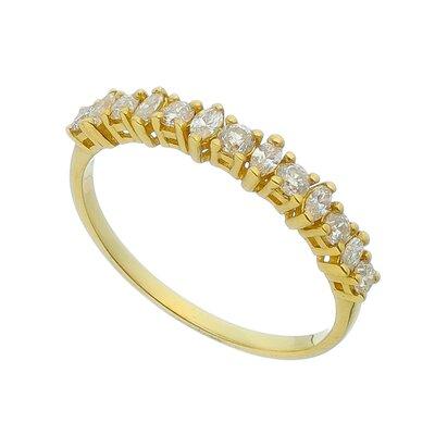 Meia Aliança Ouro Amarelo Diamantes