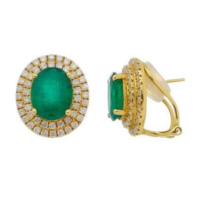 Brinco Ouro Amarelo Esmeralda e Diamantes