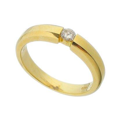 Anel Ouro Amarelo Solitário com Diamante