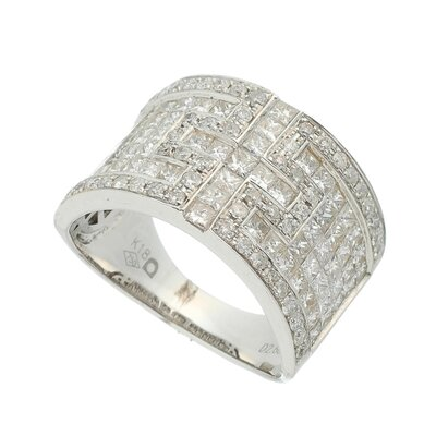 Anel Ouro Branco Diamantes Cruz Invisible