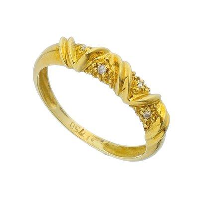 Anel Ouro Amarelo com Diamantes