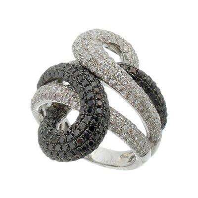 Anel Ouro Branco Diamantes Brancos e Negros
