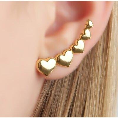 Brinco Ear Cuff 5 Corações