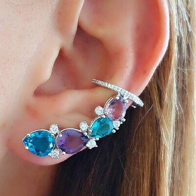 Brinco ear cuff pedras coloridas