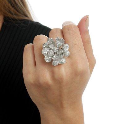 Anel Ouro Branco Flor com Diamantes