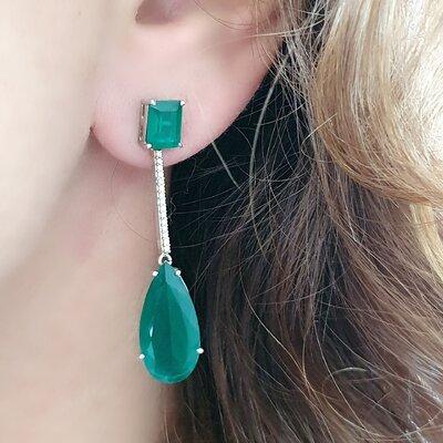Brinco em Prata Luxury Emerald