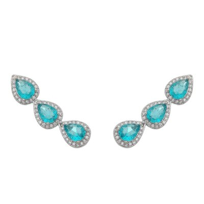 Brinco Ear Cuff Gotas de Topazio Azul Fusion