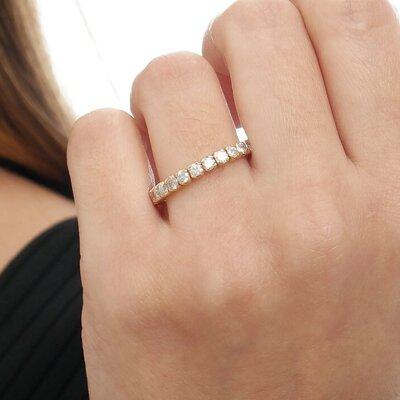 Meia Aliança Ouro Rosê e Diamantes