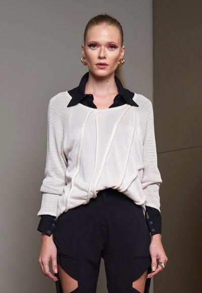 Blusa cadarço tricot