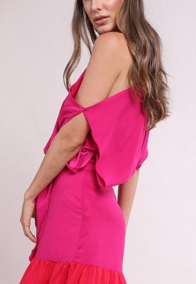 Vestido open shoulder pink