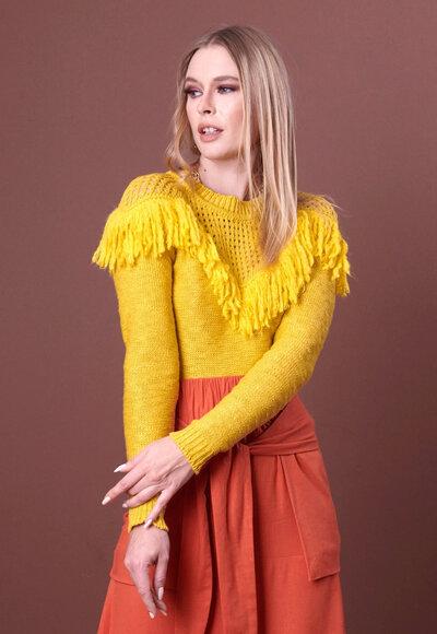 Blusa tricot franja