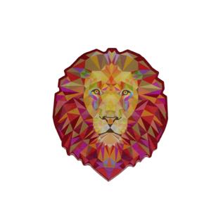 Adesivo Leão - Contornado fundo Vinho