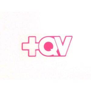 Adesivo +QV Contornado - Branco com pink