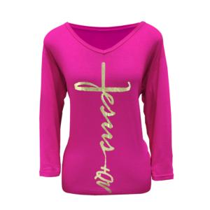 Blusa +QV Jesus Pink com Dourado