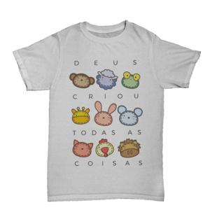 Camiseta Kids Deus Criou Bichinhos Manga Curta