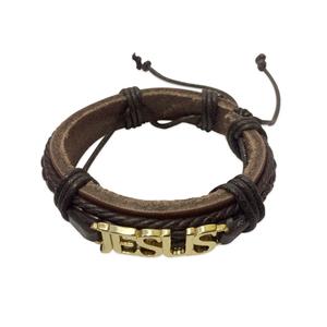 Pulseira Homens de Aliança Jesus marrom (dourada)