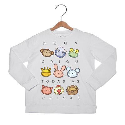 Camiseta Kids Deus Criou Bichinhos Manga Longa