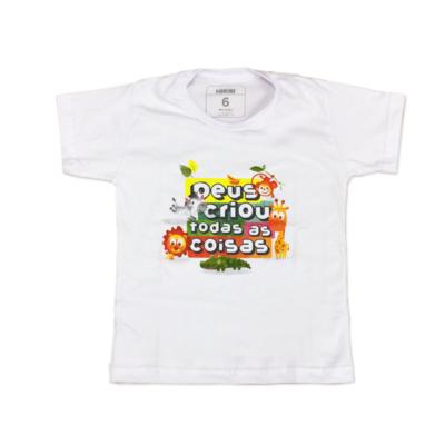 Camiseta Kids Deus Criou Floresta Manga Curta Branca