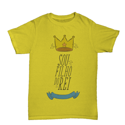 Camiseta Kids Sou Filho do Rei Manga Curta Amarelo