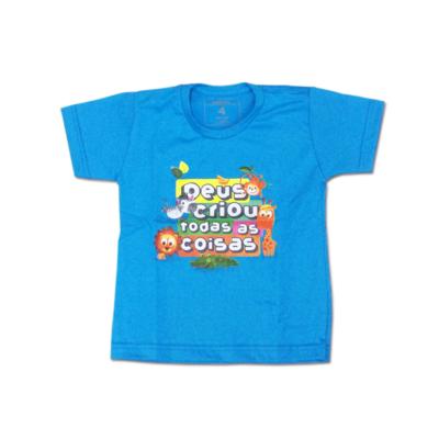 Camiseta Kids Deus Criou Floresta Manga Curta Azul
