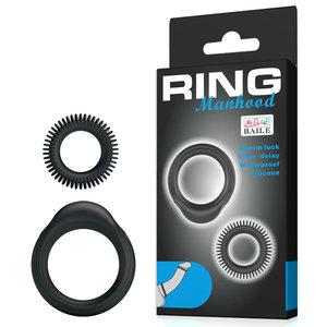 Kit com Dois Anéis Penianos de Abas Texturizadas Ring Manhood em Silicone