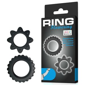 Kit de 2 Anéis Penianos Ring Flowering em Silicone À Prova D'Água