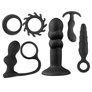 Kit Jovial com 2 Anéis e 4 Plugs Todos em Silicone Black
