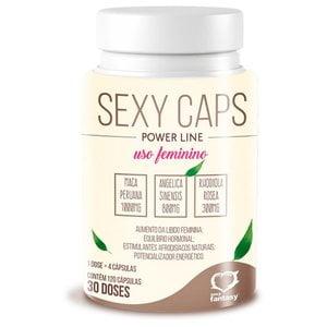 Sexy Caps Power Line Cápsulas Estimulantes Afrodisíacas Natural de Uso Feminino - 90 Cápsulas