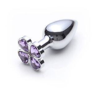 Lust Metal - Plug Anal em Metal Com Base em Formato de Flor com Pedras 7,15 cm x 2,7 cm