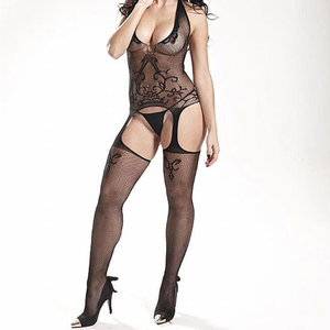 Macacão Rendado Preto - BodyStocking