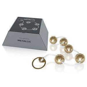 Cordão Metallic para Pompoarismo com 5 Esferas Douradas