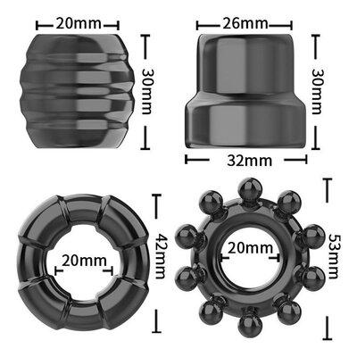 Conjunto de Anéis Penianos 4 Modelos - Cock Ring Set - C