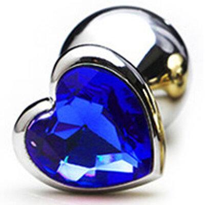 Plug Anal em Alumínio e Base em Formato de Coração com Pedra 8,2 cm x 3,1 cm
