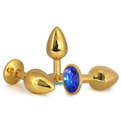 Plug Anal em Aço Inoxidável Dourado com Joia Sortida