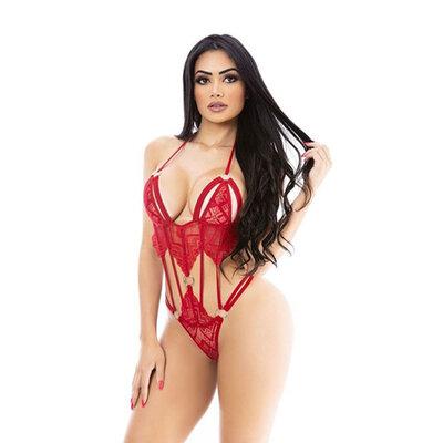 Body Sensual Vermelho Mamãe Noel - com Capuz