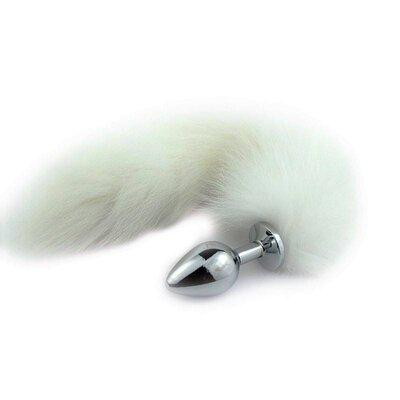 Plug Anal Jóia Metal Inox com Rabo Tail Branco 30 cm Plug 7,5 x 2,4 cm
