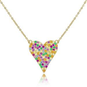 Colar Heart Cravejado Rainbow Gold