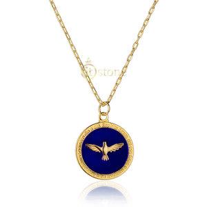 Colar Esmaltado Divino Blue Corrente Cartier Dourado
