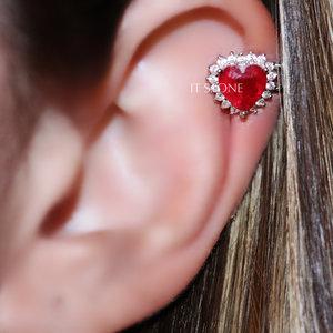 Piercing Falso Heart Cravejado Rubi Fusion (unidade)