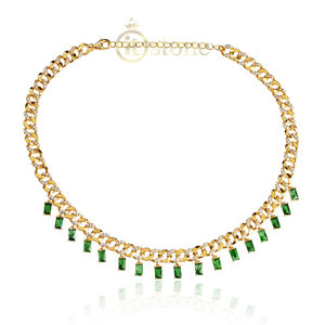 Choker Elos Luxo Baguetes Esmeralda Gold